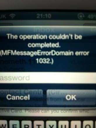 MFMessageErrorDomain error 1032